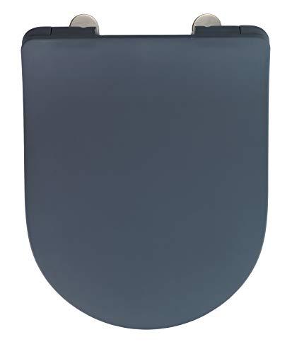 WENKO Premium WC-Sitz Sedilo matt Grau - Toiletten-Sitz mit Absenkautomatik, rostfreie Fix-Clip Hygiene Edelstahlbefestigung, Soft-Touch Beschichtung, Duroplast, 36,2 x 45,2 cm, grau (Toiletten Grau)