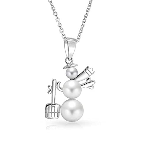 Rhodium Plated Silver White Simulated Pearl Snowman Pendant Necklace