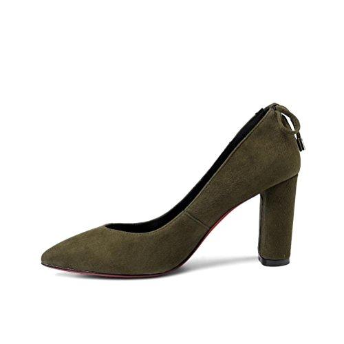QPYC Donne delle signore tacchi alti boots pelle scamosciata cuoio poco profondo scarpe singole punte green