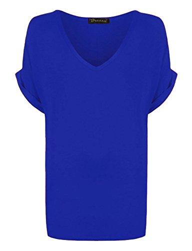 Neue Damen Frauen Uni V Hals Kurze Ärmel Baggy Turn Up T-Shirt plus Größe. UK 8–26 Gr. 48, Königsblau (V-neck-shirt Plus Womens)