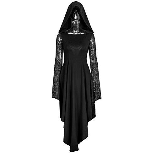 Queenromen Damen Mittelalter Gotischer Kapuze Kleid Spitze Langarm Unregelmäßig Spinnennetz Hohlrücken Cosplay Hexen Vampir Renaissance Kapuzenkleid Dress(S Schwarz) -