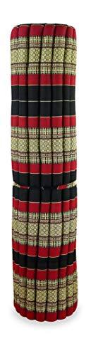 Kapok Rollmatte der Marke Asia Wohnstudio, Thailändische Rollmatte, Entspannungsmatte, Yogamatte, Pilates, Rollmatratze (schwarz-rot)