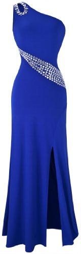 Angel-fashions Damen Aushohlen Strass Einzel-Schulter Slit Langes Kleid XX-Large blau - Kleider De Noche