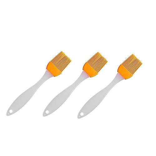 YuandCheng Hitzebeständiger Gebrauch Grillbürste Küche Silikon Backen Gebäckkochbürsten & Grillpinsel, unterschiedliche helle Farben - Beste Küchenhelfer (Ölbürste 3er Pack) Hände schützen - 240 Ess-set