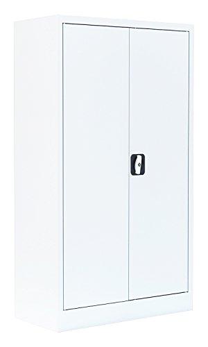 Flügeltürenschrank Schrank Stahl Stahlblech Lagerschrank Aktenschrank Weiß 2 Fachböden 530297 1200 x 800 x 380 mm kompl. montiert und verschweißt
