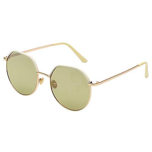 WULE-RYP Polarisierte Sonnenbrille mit UV-Schutz Vintage Gold Frame Feinkantige Bicolor Sonnenbrille Top Runde Persönlichkeit Brille Bequeme Flache Linse. Superleichtes Rahmen-Fischen, das Golf fährt