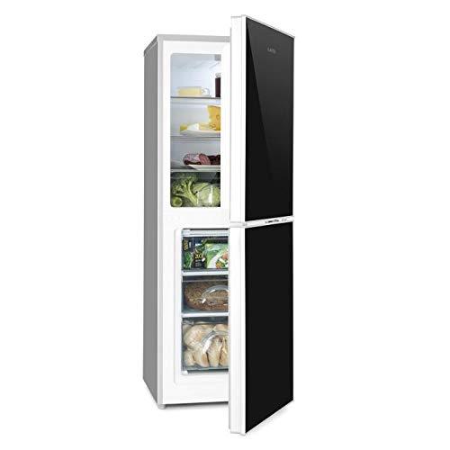Klarstein Luminance Frost • Kühl- und Gefrierkombination • 98 Liter Kühlschrank • 52 Liter Gefrierfach • Doppeltür-Front aus Glas • 3 Glas-Ablagen • 3 Türablagen • freistehend • schwarz-silber -
