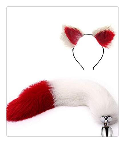 Metal Zone Kostüm - Z-one 1 Classic Pop Cute Halloween Cosplay Small Metal Fox Tail + Cat Ears Stirnband Spielzeug Cosplay Kostüm Set (weiß und rot)