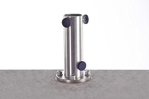 Bodenhülse aus Edelstahl | Modell Pianura K | für Mittelmast- und Ampelschirme | Länge Unterteil 25 cm | zum direkten Einbetonieren | 3,3 kg
