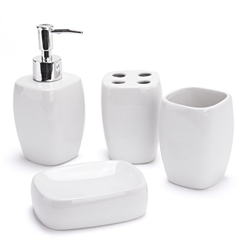 Badezimmerset Keramik weiß Clayre /& Eef 4 teiliges Badaccessoires Set
