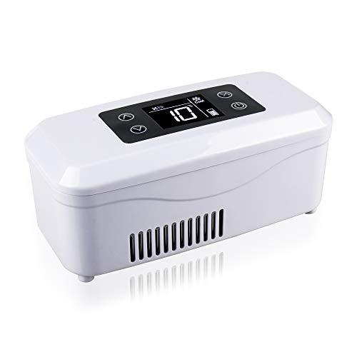 REAQER Tragbare Insulin-Kühlbox 2-18 ° C gekühlte Box Kühltasche Reefer Car Kühlschrank Größe 21 * 10 * 9cm für Auto, Reisen, Flugzeug