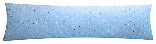 Baumwoll Renforcé Seitenschläferkissen Bezug 40x145cm - Sterne Muster in Hellblau - Öko-Tex 100% Baumwolle Stillkissenbezug (376-2-B)