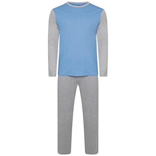 Herren Nachtwäsche PJ Pyjama Satz Zweiteiliger schlafanzug Nacht Tragen 100% Baumwolle - Mergel Grau / Hellblau - XXXX-Large (Herren-nachtwäsche Grau)