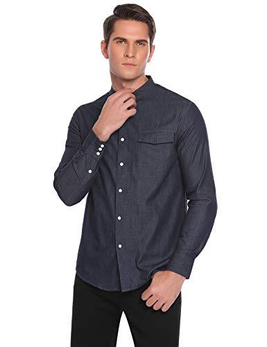 Coofandy Coofandy Herren Jeanshemd Regular Fit 4 Farben Figurbetont Denim Freizeit Langarm Jeanshemden mit Tasche, 51-Navyblau, S