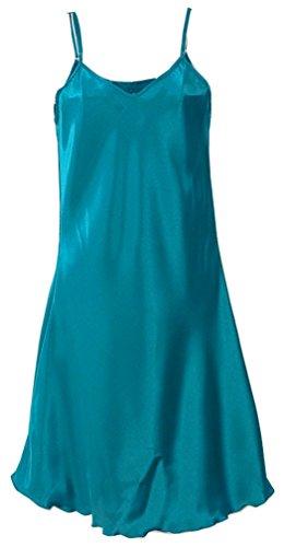 FLYCHEN Robe de Chambre Femme Exotique Kimono Satin Soyeux Peignoir Couleur Unie Bleu canard-1