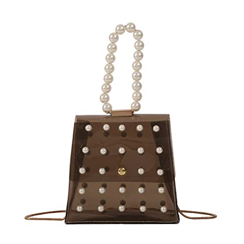 TENDYCOCO Evening Bag Transparent Crossbody Bag Pearl Handbag Purse for Women (Black) -