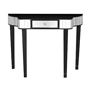 Premier Housewares Clavier Console Black Wood Table and Mirror, 70 x 92 x 36 cm