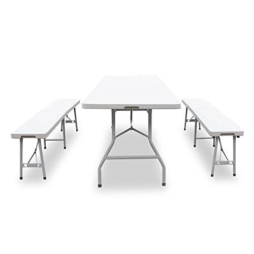 Buffettisch Kombi mit Tisch und Bank Bierbank Klapptisch Esstisch Gartentisch Campingtisch Weiß 180cm