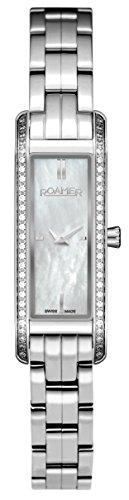 Roamer AEU831 4125 PE - Reloj de Cuarzo para Mujeres (con Esfera nácar y Correa de Acero Inoxidable), Plateado