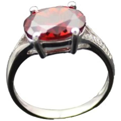 Giada a forma di angelo, in argento Sterling 925 con granato sintetico ovale con zirconia cubica trasparente e anello