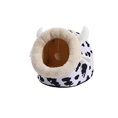 CZWYF Katzenbett |Hooded Tent House Dome Cave Haustierbett for Katzen und kleine Hunde/schwarz weiß/DREI Größen (Size : XXL) -