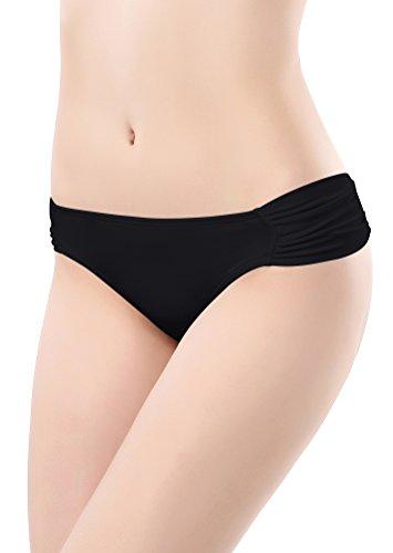 SHEKINI Damen Rüschen Bikinihose Wassersport Bikinislip Unifarben Gerafft Höschen Hipster (Small, Schwarz)