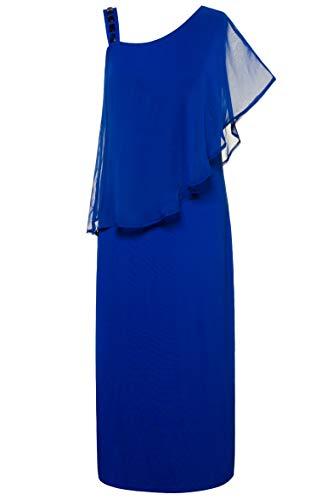 Ulla Popken Damen große Größen bis 62+   Jerseykleid   asymmetrischer Überwurf   transparenter Chiffon   Rechter Träger mit Glitzersteine   Mittelblau 54/56 715854 73-54+