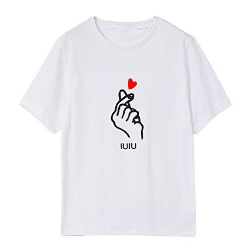 Herzförmiger Tunika Top (KDFGUSOVM T-Shirt Weibliche Sommerfrauen Neue Lässige Herzförmige Gesten Wilde Rundhals Lose Gedruckte Kurzarm-T-Shirt Flut)