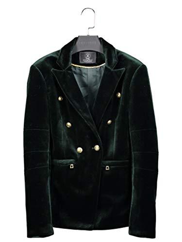 Rino & Pelle Damen Blazer Samtblazer Velvet Green Jacke Anzugstil Knöpfe, Dark Green, 42