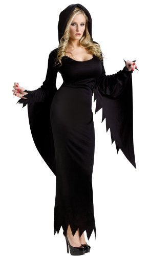 Lady Kostüm Vampir Halloween (Schwarzes Kleid mit Kapuze Damen Kostüm Halloween Fasching Karneval Hexe Vampir Lady Mortischa Mittelalter Zauberin Gr.)