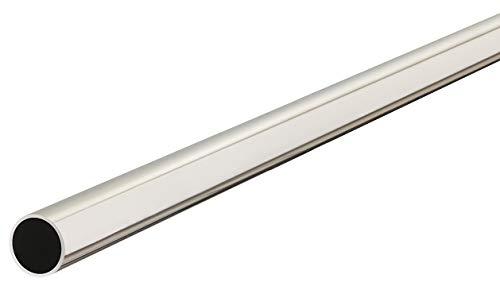 e Chrom Schrankstange RUND Möbelrohr 2000 mm für Kleider-Schrank | Metall Schrankrohr Ø 25 mm | 1 Stück - Garderoben-Stange mit 2 Stück Schrankrohrlager für die Wand-Montage ()