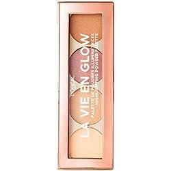 L'Oréal Paris La Vie en Glow Highlighter Palette Nr. 01, 4 Highlighter-Nuancen, ideal um einzelne Gesichtspartien zum Strahlen zu bringen