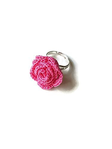 Anillo rosa regalo de joyería rosa para su novia novia naturaleza flor de ganchillo sicilia