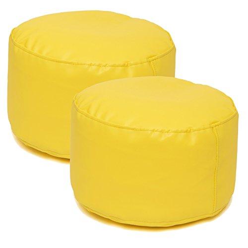 Jarrous Pack de 2 Puffs Taburete Redondos Modelo Colonial, Color Amarillo, Medida 36x36x20cm