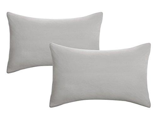 Biberna 0077144 Jersey-Kissenhüllen aus 100 % Baumwolle mit Reißverschluss, 2er-Pack, 40 x 60 cm Grau, 27 x 18 x 3 cm -