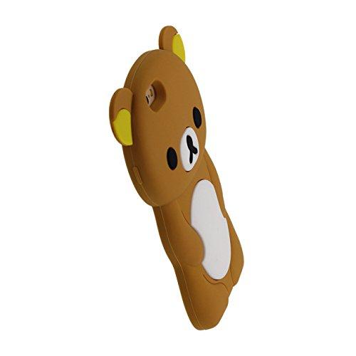 Schön Bär Gestalten Serie Slikon Gel [ Glatte Oberfläche ] Super Weich Cartoon Tier Hülle Case Schutzhülle für Apple iPhone 6 / iPhone 6S 4.7 inch Hülle - Pink braun