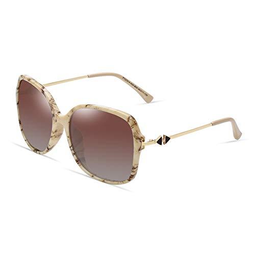 Yuany Sonnenbrille Goggle Frau Round Face Round Box Pfeil Classic Retro Polarized Light Sonnenschutz Anti-UVA Anti-UV 100% (Farbe: Beige)