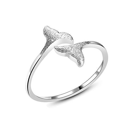Damen 925 Sterling Silber Ring, Vergoldete Zeichnung Mermaid Schwanz Wal Öffnung Verstellbarer Fingerringe Für Frauen Freundin, Hochzeitstag Verlobung Ewigkeit Brautschmuck Festival Geschenk