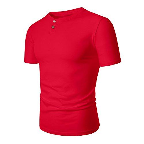 Veravant Herren T-Shirt Kurzarm Shirt mit Grandad-Ausschnit Aus 100% Baumwolle Slim Fit Meliert Rot