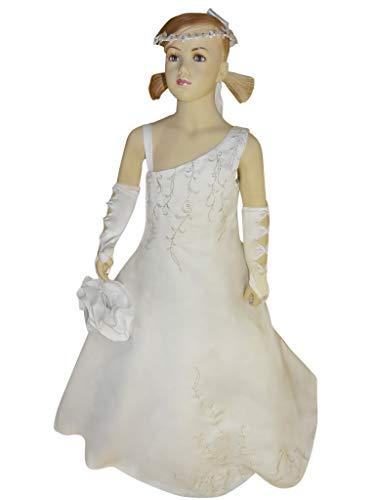 """Seruna Festliche-s Mädchen-Kleid, Modell 49""""Chantal Gr. 134, Kommunion-Kleider Tauf-Outfit Blumen-Kind zur Hochzeit"""