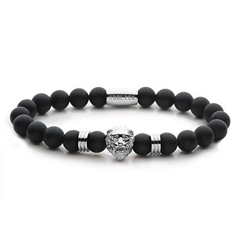 Obelizk Exklusiv Lion Armband für Männer Silver| Löwenkopf Bracelet mit schwarzen Onyx Perlen|Geschenk Schmuckbox+ Luxury Accessories Guide