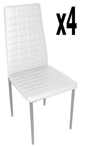 Lot de 4 chaises longues de salon en PU coloris blanc, 500 x 415 x 950 mm -PEGANE-