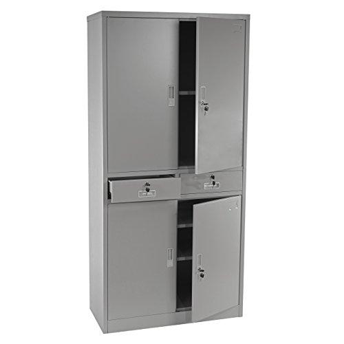 Aktenschrank Boston T132, Metallschrank Büroschrank, 51kg 4 Türen 2 Schubladen 180x85x40cm ~ grau