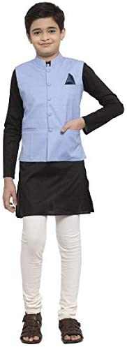 NEUDIS by Dhrohar Cotton Nehru Jacket & Long Kurta with Churi Pajama Set For Boys - Sky Blue &am