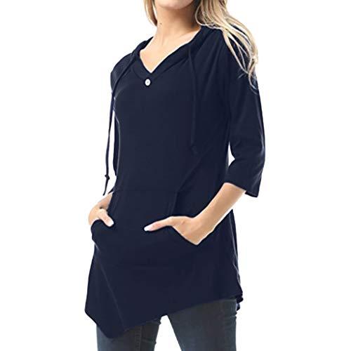 Pullover Sweatshirt für Damen,Kobay 2019 Halloween Heiligabend Weihnachten Frauen sexy V Ausschnitt Reine Farbe Pullover Tasche T Shirt Bluse Strickjacke Tops Pullover -