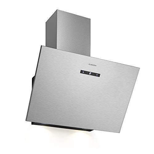 Klarstein Silver Lining 60 - Hotte aspirante, 60 cm de largeur, 3 niveaux de puissance, Jusqu'à 600 m³/h, Contrôle tactile, Ecran LED, Corps en inox, Argent