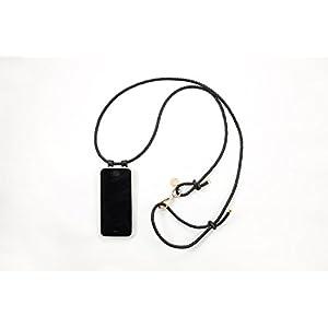 iPhone 7 Plus Hülle zum umhängen mit geflochtener Lederkordel in schwarz