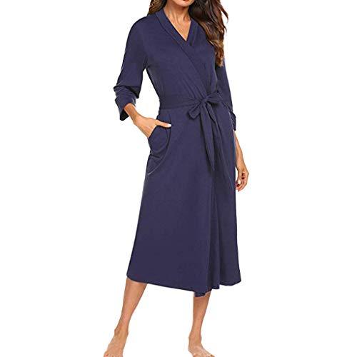 LILICAT_kleider Sommer Freizeit Roben Damen Loose Kimono Baumwolle Kleid V-Ausschnitt Nachtwäsche Robe Kurzarm Nachthemd Brautjungfer Brautdusche Geschenk Lange Schlafanzüge -