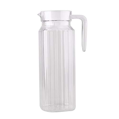 Agoky Kühlschrankkrug Glaskrug mit Deckel Flüssigkeit Kühlung Lagerung Becher Cups, 800ml/1000ml Transparent B 1100ml