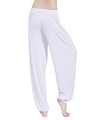 Donna Baggy Harem Pantaloni Solido Colore Aladdin Bloomers Yoga Jogging Sportivi Bianco